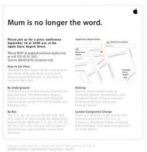 Конференция от Apple — «Mum is no longer the word»