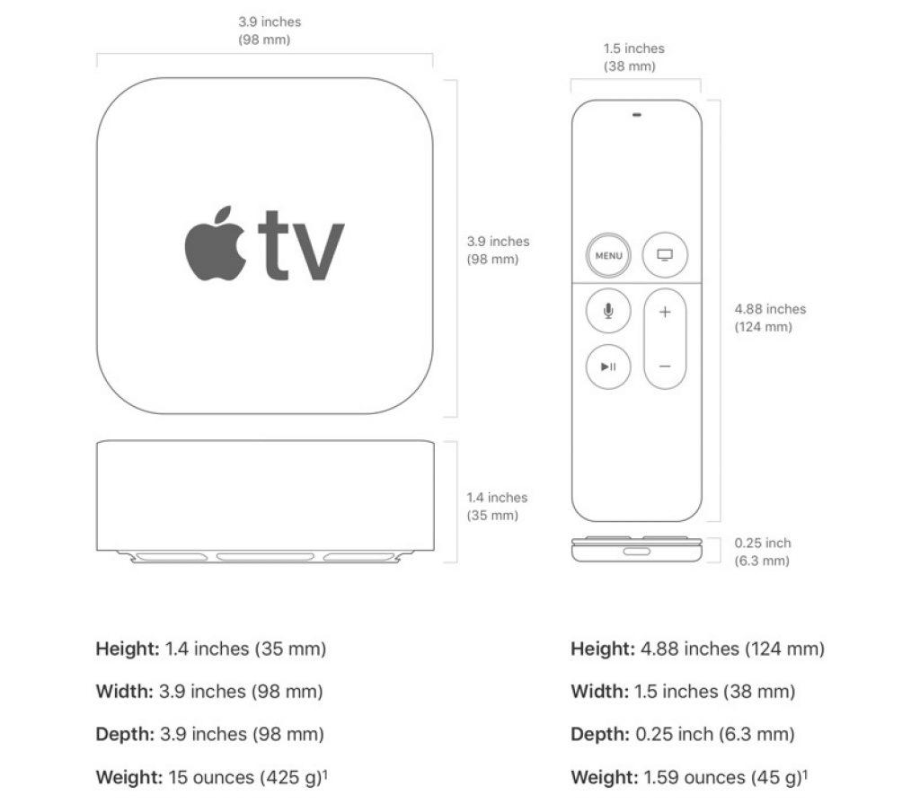 размеры apple TV